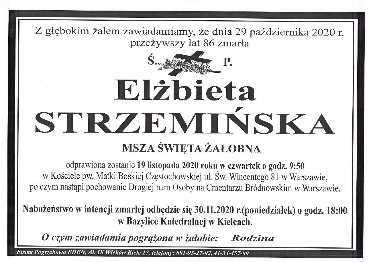 Elżbieta Strzemińska - nekrolog