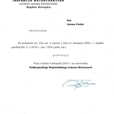 Powołanie Podkarpackiego Wojewódzkiego Lekarza Weterynarii